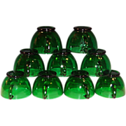 Anchor Hocking Forest Green Cups; (SET OF 9)