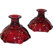 Set of 2: Anchor Hocking Royal Ruby Oyster and Pearl Candle Holders