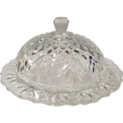 Anchor Hocking  Pineapple Prescut Round Butter Dish
