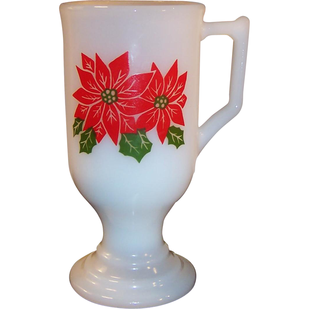 Pedestal Poinsettia Milk Glass Irish Coffee Mug