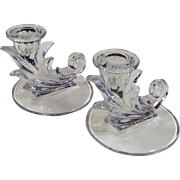 Fostoria Crystal Cornucopia Baroque Flame Candlestick Pair