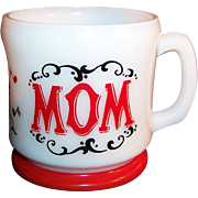 "Hazel Atlas: Red & White, Gay 90's ""Mom"" Coffee Mug ...Perfect for Mom's of any age and for any day! ..."