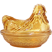 Hazel Atlas Amber Glass Hen on Nest