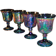 SET of 4:  Iridescent Blue Harvest Grape Carnival Glass Goblets