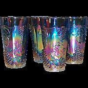 SET of 4: Iridescent Blue Harvest Carnival Glass 14 oz Tumblers