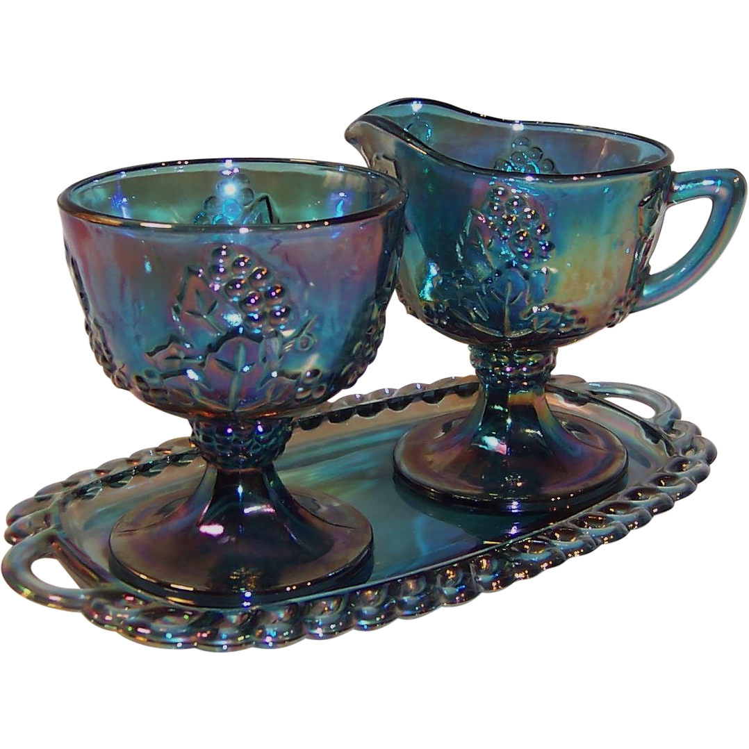 Indiana Blue Carnival Glass Harvest Grape Creamer, Sugar & Tray Set
