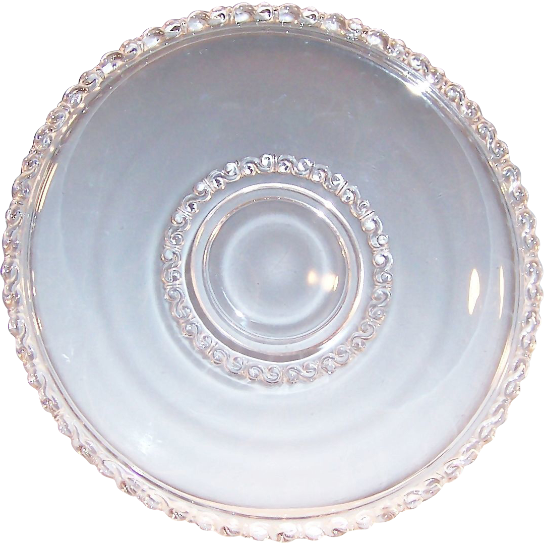 "Vintage Large Clear ""S"" Pattern Glass Platter or Torte Plate"
