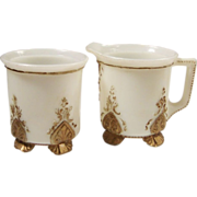 SALE:  Early Milk Glass Footed Creamer & Sugar Set