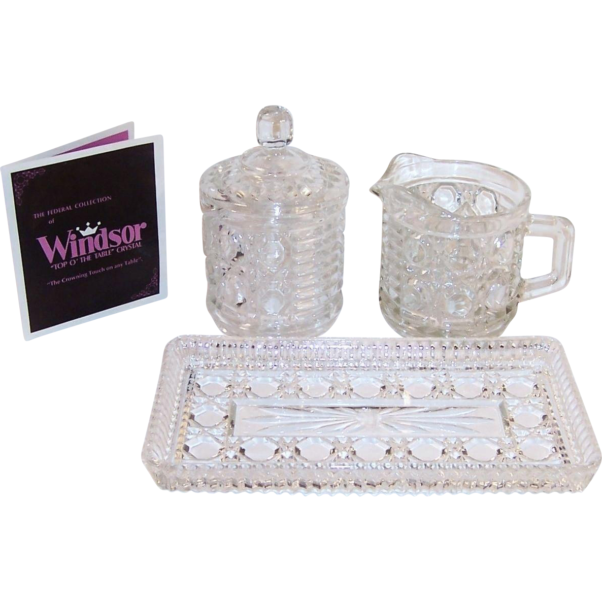 Mid-Century Windsor Sugar, Creamer & Tray Set In Original Box