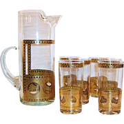 Father's Day Sale:  West Virginia Glass Pitcher and SIX Tumblers Mid-Century Beverage Set