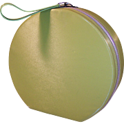 Vintage 1960's Avocado Green Round Fashion Case