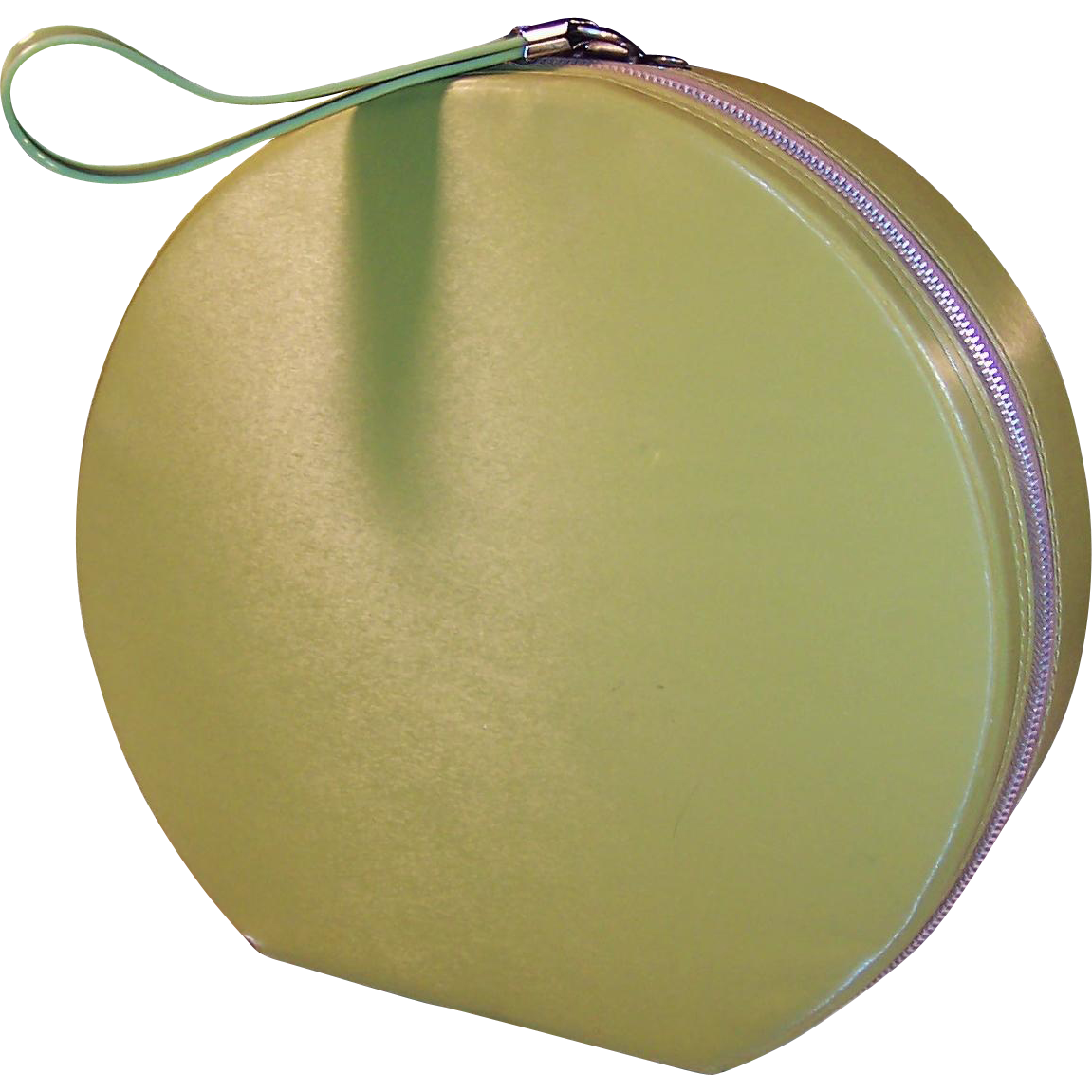 Vintage 1960's Avocado Green Round Fashion Case