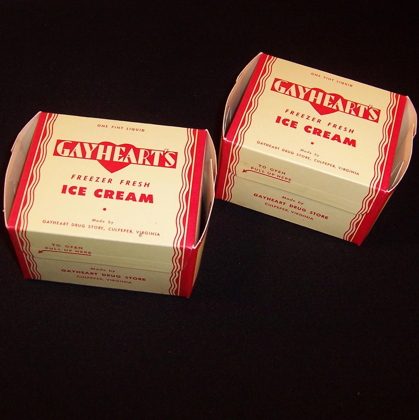 Two 1930 S 1940 S Gayheart S One Pint Ice Cream Boxes Nos