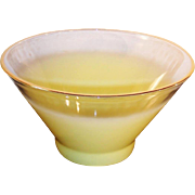 West Virginia Glass Blendo Frosted Yellow Large Serving Bowl