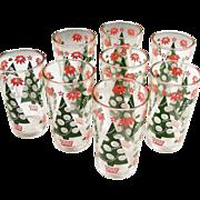 Set of 8: Mid Century Hazel Atlas Glass Holiday Tumblers & Box