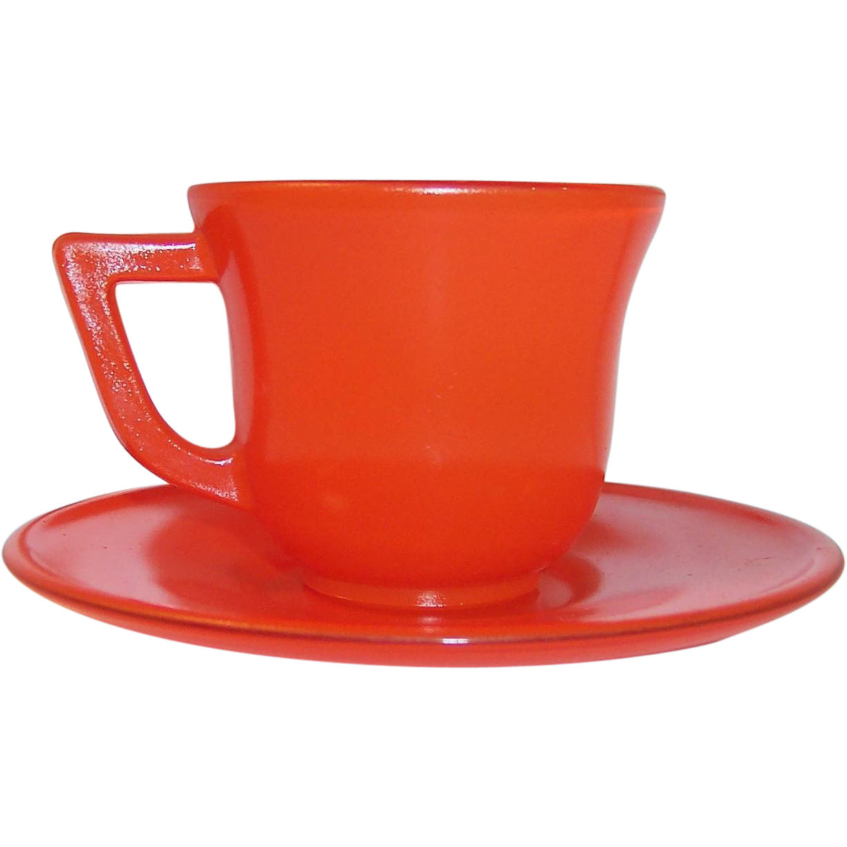 1950's Hazel Atlas Fired on Orange Demitasse Set