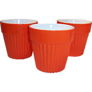 SET of 3: Hazel Atlas Fired On Orange Ribbed Flower Pots
