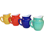 Complete Set of FOUR Hazel Atlas Gay Rainbow Milk Pitchers