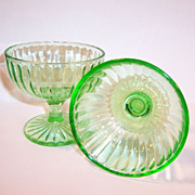 TWO Depression Green Hazel Atlas Glass Sherbets