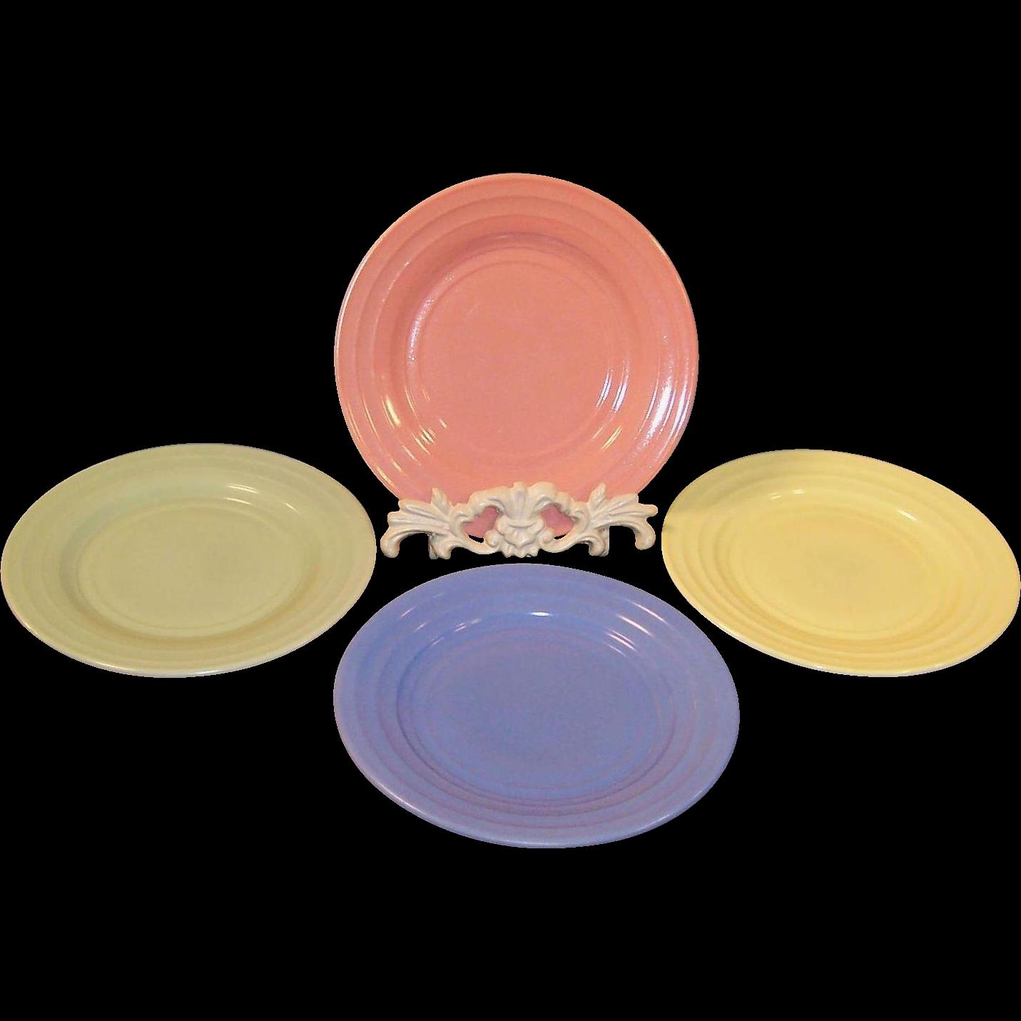 "1950's Set of FOUR Hazel Atlas Moderntone 7"" Plates"