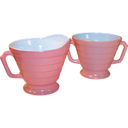 Hazel Atlas Moderntone Fired On Pink Creamer Sugar Set