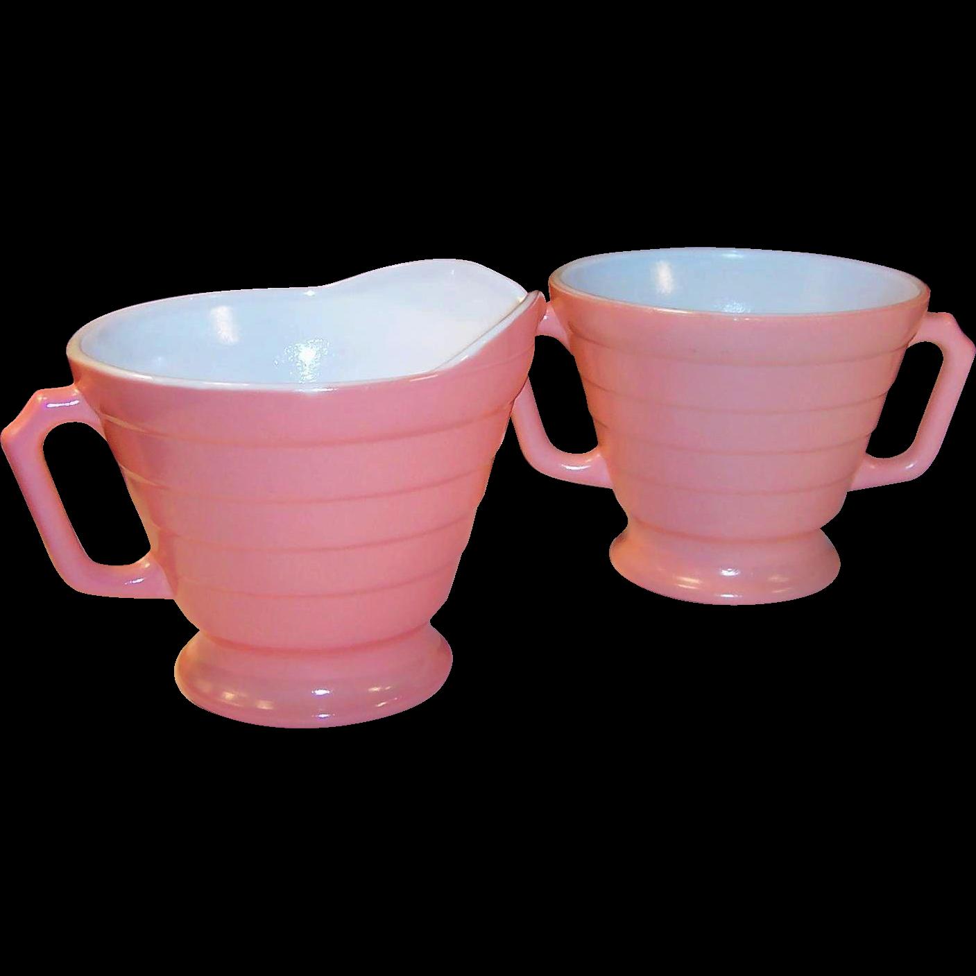 Hazel Atlas Moderntone Fired On Pink Creamer Sugar Set