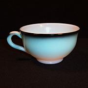 Hazel Atlas Ovide  Aqua Blue & Black Cup