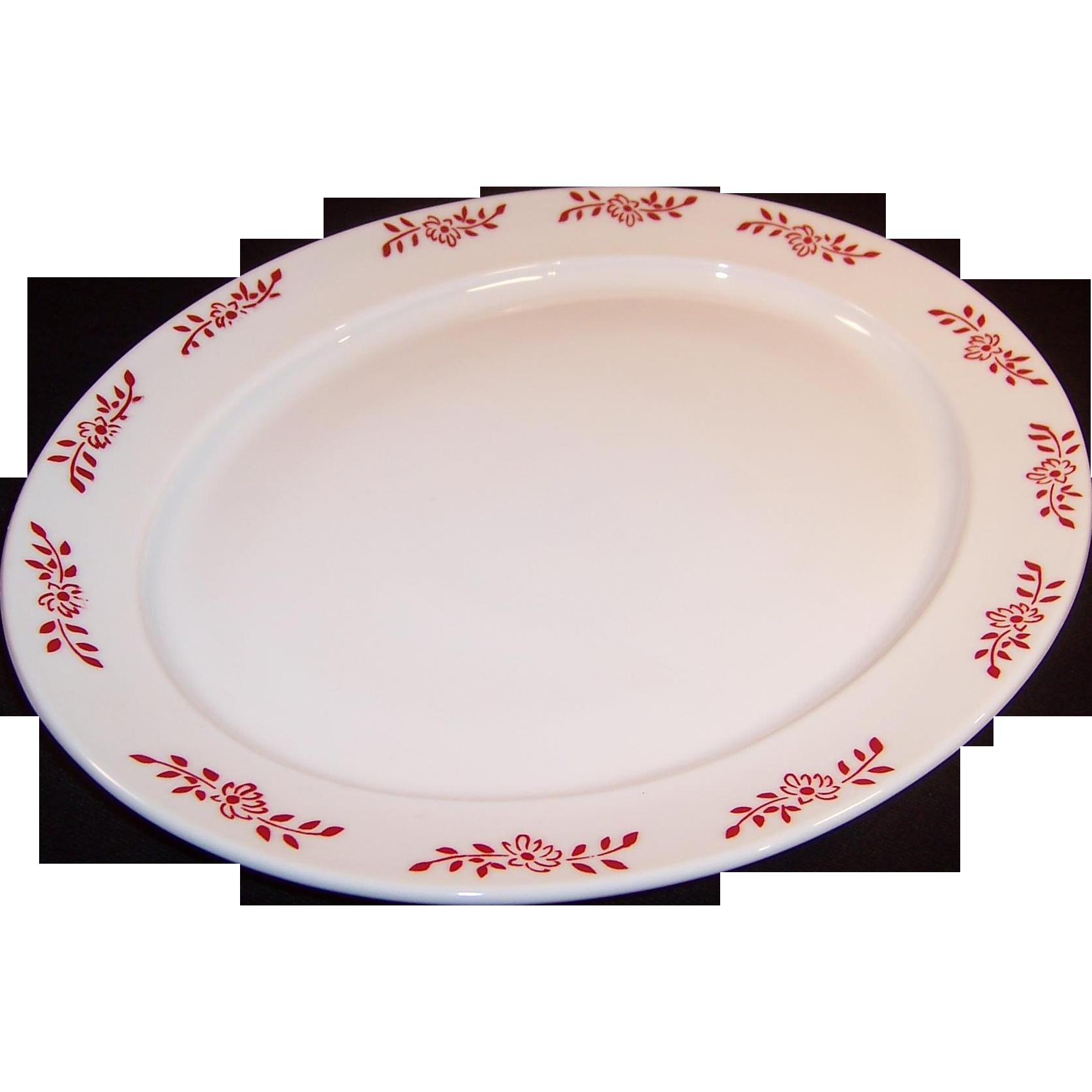 Rare Hazel Atlas Ovide Platonite Platter Red Flower Design