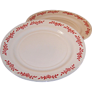 Rare Hazel Atlas Ovide Platonite Dinner Plate Red Flower Design (2 avail)