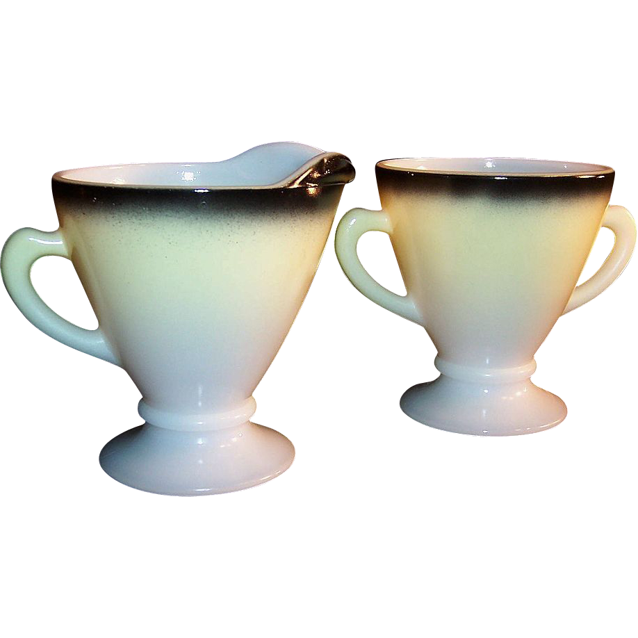 Hazel Atlas Ovide Yellow & Black Creamer & Sugar