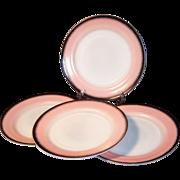 "SET of 4:  Hazel Atlas Ovide 9"" Dinner Plates"