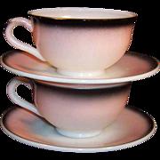 Hazel Atlas Ovide Pink Black Cups & Saucers