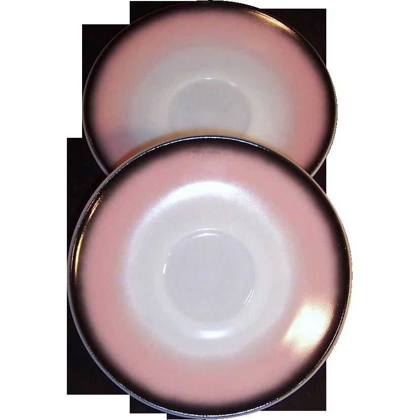 Hazel Atlas Ovide Pink Black Saucers