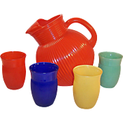 Pristine! Hazel Atlas Primary Colors Ribbed Table Tumblers & Large Matching Pitcher