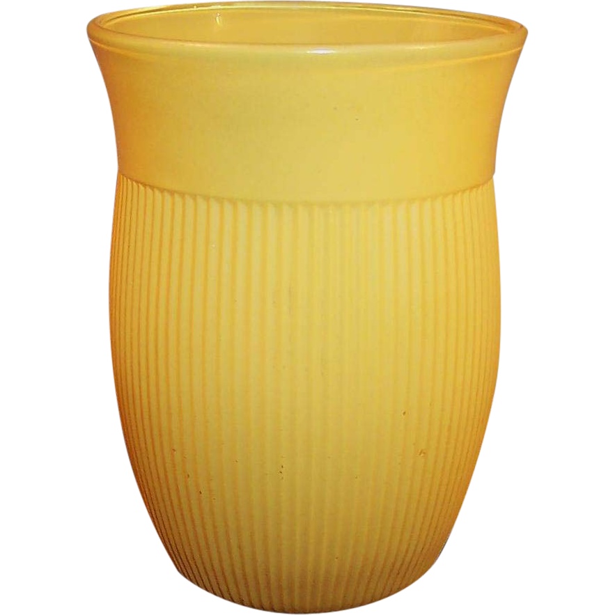 "Yellow Hazel Atlas Ribbed 4"" Tumbler"