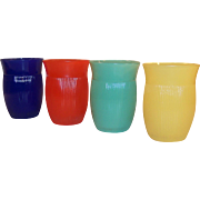 "SET of 4: Hazel Atlas Fine Ribbed 4"" Tumblers"