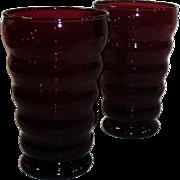 SET OF 2:  Royal Ruby Whirly Twirly 12 oz. Tumblers