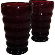 SET OF 2:  Royal Ruby Whirly Twirly 12 oz. Tumblers
