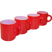 Set of 4 Hazel Atlas Red Pebble Textured Milk Glass Mugs