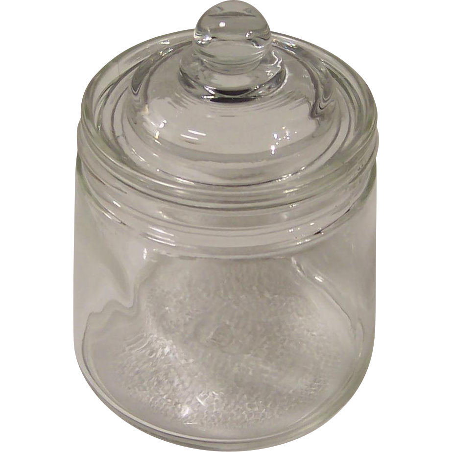 Hazel Atlas Glass Covered Apothecary Jar