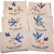 HOT Summer SALE: Vintage Six Days of the Week Blue Bird Flower Sack Towels