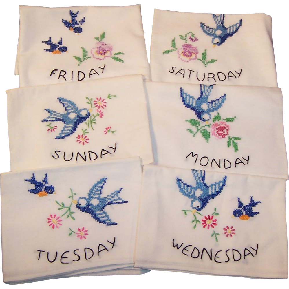 Vintage Six Days of the Week Blue Bird Flower Sack Towels