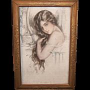 """Framed c. 1915 Harrison Fisher; """"Good Morning"""""""