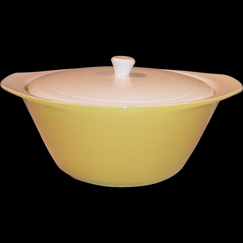 1 1/2 Quart 1960's Harvest Gold Covered Serving Bowl