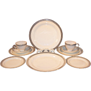 Service for TWO: Homer Laughlin Eggshell Nautilus Platinum Bands