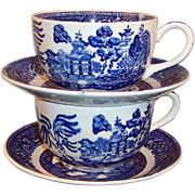2 Homer Laughlin Blue Willow Cup & Saucer Sets