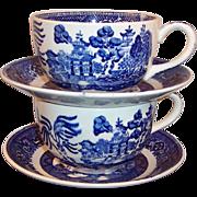 2 Homer Laughlin Blue Willow Cup & Saucer Sets