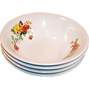 FOUR:  Deep CEREAL Bowls: Homer Laughlin Poppy & Rose