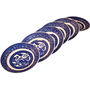 "(SIX) 5 3/4"" Homer Laughlin Blue Willow Saucers"