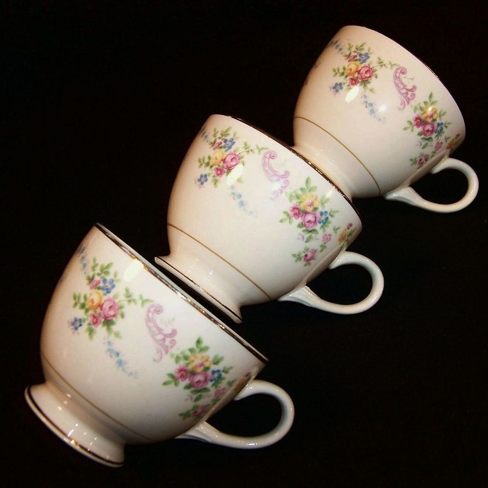 (3) Homer Laughlin Dubarry / Rosemary Cups